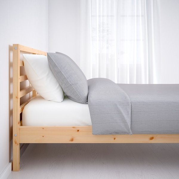 TARVA Bed frame, pine/Luröy, Queen