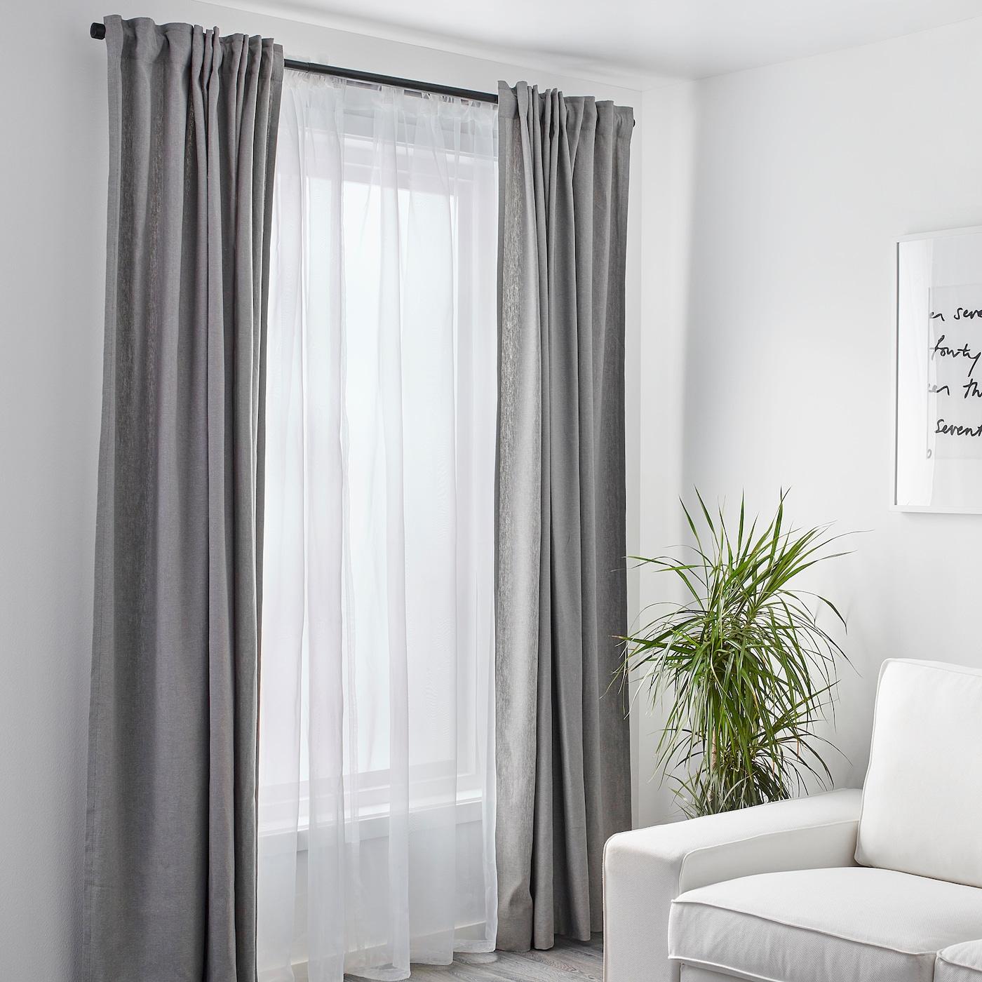 """TERESIA Sheer curtains, 12 pair - white 12x12 """" (1245x12 cm)"""
