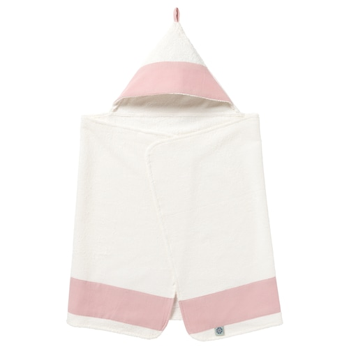 """TILLGIVEN baby towel with hood white/pink 49 """" 24 """""""
