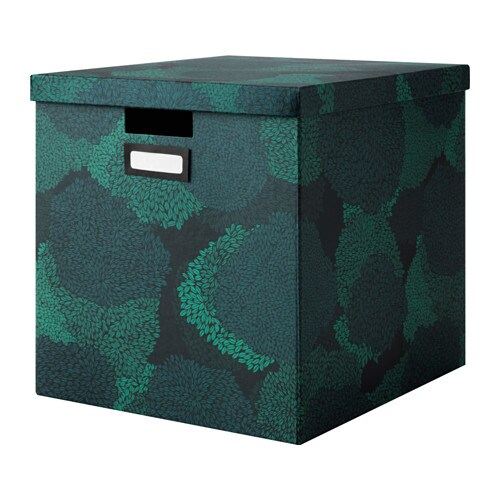 TJENA Box with lid, black-blue