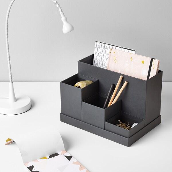 """TJENA Desk organizer, black, 7x6 ¾ """""""