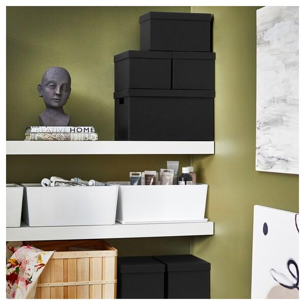 """TJENA Storage box with lid, black, 7x9 ¾x6 """""""