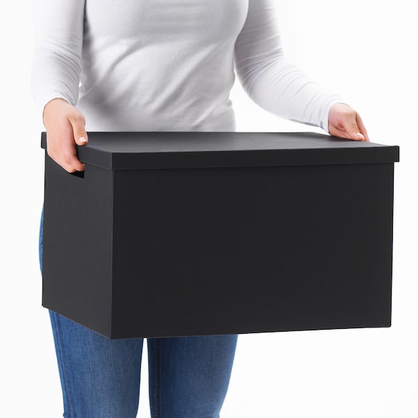 """TJENA Storage box with lid, black, 13 ¾x19 ¾x11 ¾ """""""