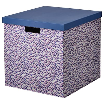 TJENA Storage box with lid, blue/lilac/patterned, 12 ½x13 ¾x12 ½ ""