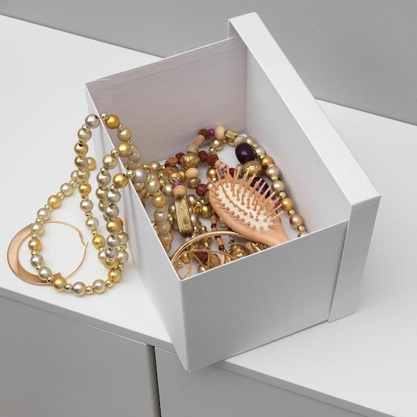 """TJENA Storage box with lid, white, 7x9 ¾x6 """""""