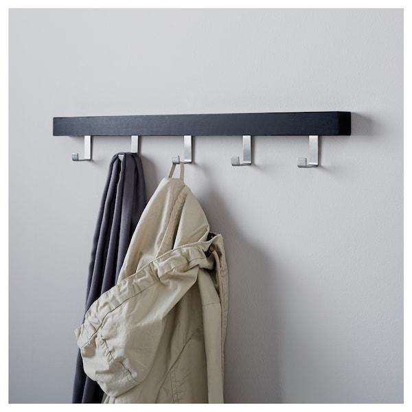 """TJUSIG wall/door rack with knobs black 23 ½ """" 1 ½ """" 3 ¼ """""""