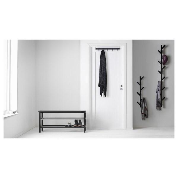 """TJUSIG Wall/door rack with knobs, black, 23 ½ """""""