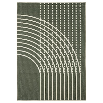 "TÖMMERBY Rug flatwoven, in/outdoor, dark green/off-white, 5 ' 3 ""x7 ' 7 """