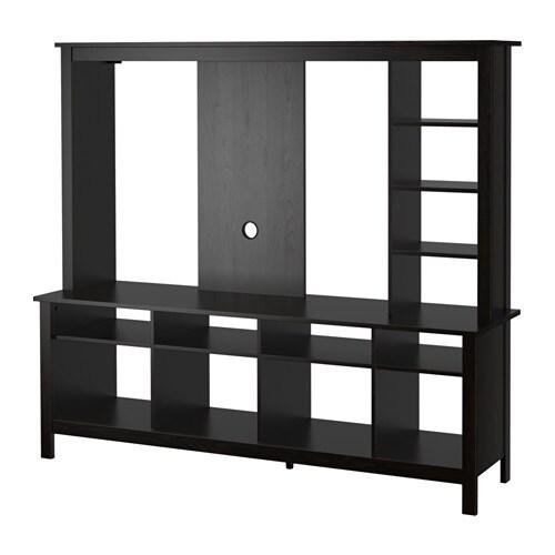 Tomn s tv storage unit black brown ikea - Tv storage units living room furniture ...