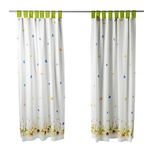 TORVA FJÄRIL Pair of curtains   The ties at the top and the hemmed bottom make it ready to hang.