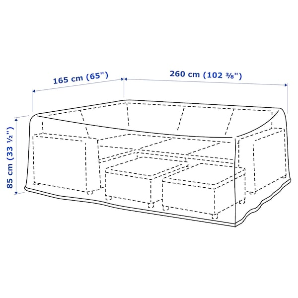 """TOSTERÖ Cover for outdoor furniture, sofa/black, 102 3/8x65 """""""