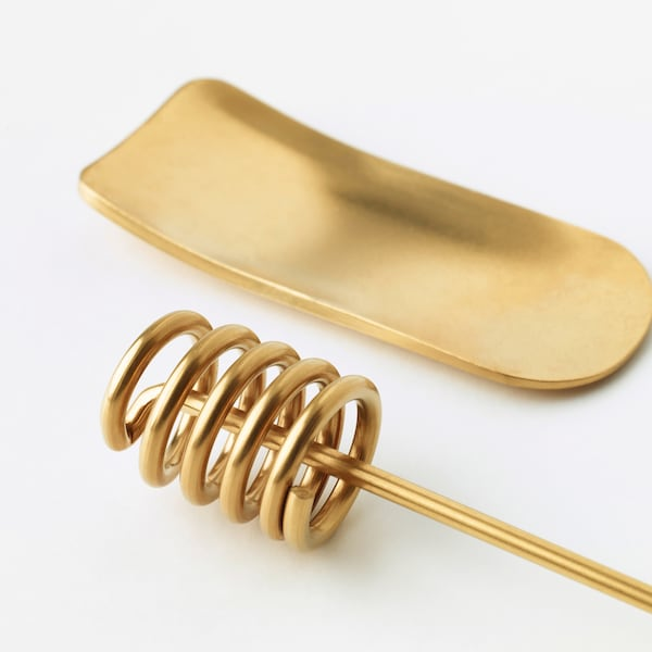 TRÅDLÖS Honey dipper and tea measure, brass