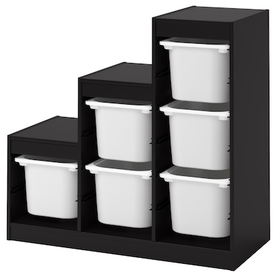TROFAST Storage combination with boxes, black/white, 39x17 3/8x37 ""
