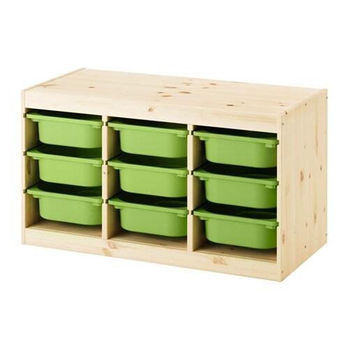 trofast storage combination with boxes light white stained pine green ikea. Black Bedroom Furniture Sets. Home Design Ideas