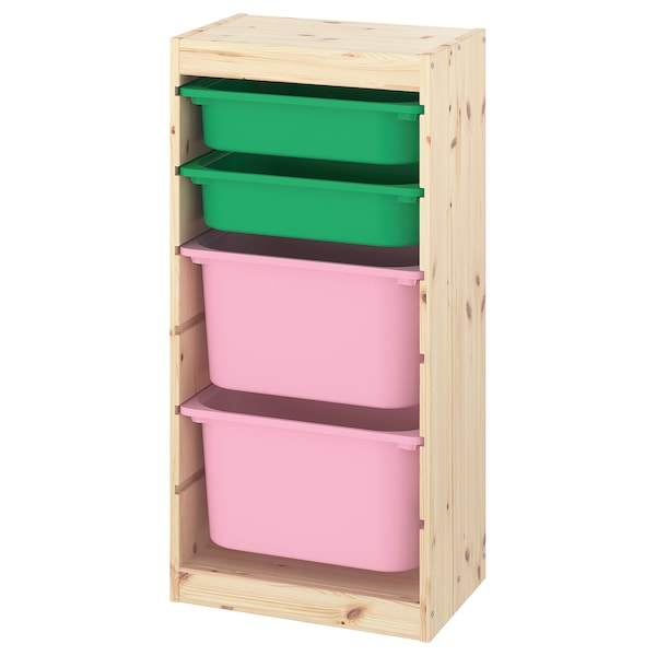 """TROFAST Storage combination with boxes, light white stained pine green/pink, 17 3/8x11 3/4x35 7/8 """""""