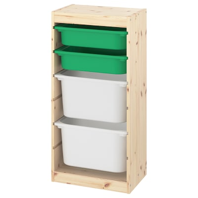 """TROFAST Storage combination with boxes, light white stained pine green/white, 17 3/8x11 3/4x35 7/8 """""""