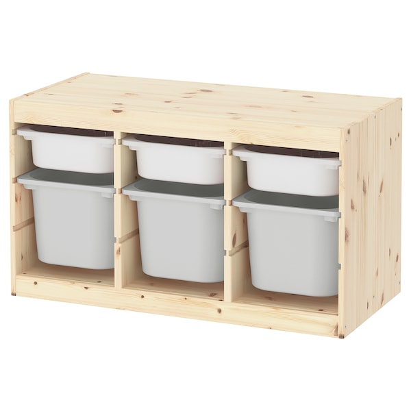 """TROFAST Storage combination with boxes, light white stained pine white/gray, 37x17 3/8x20 1/2 """""""