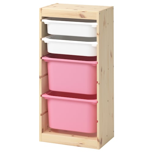 "TROFAST storage combination with boxes light white stained pine white/pink 17 3/8 "" 11 3/4 "" 35 7/8 """