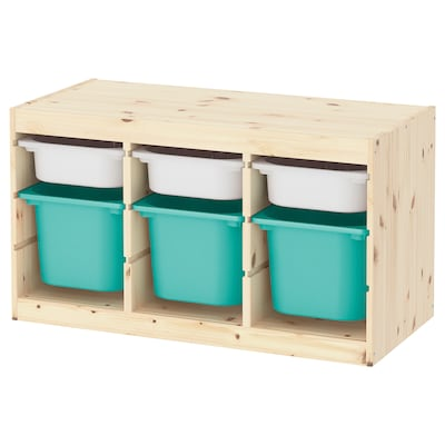 """TROFAST Storage combination with boxes, light white stained pine white/turquoise, 37x17 3/8x20 1/2 """""""