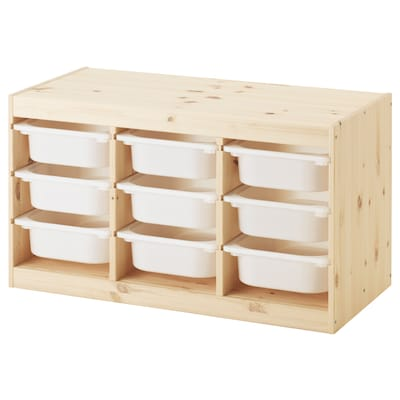 "TROFAST storage combination with boxes light white stained pine/white 37 "" 17 3/8 "" 20 1/2 """