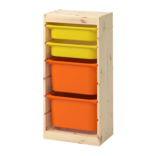 trofast storage combination with boxes light white stained pine orange yellow ikea. Black Bedroom Furniture Sets. Home Design Ideas