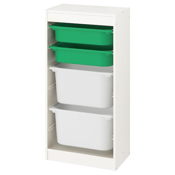 TROFAST Storage combination with boxes, white/green white, 18 1/8x11 3/4x37 ""