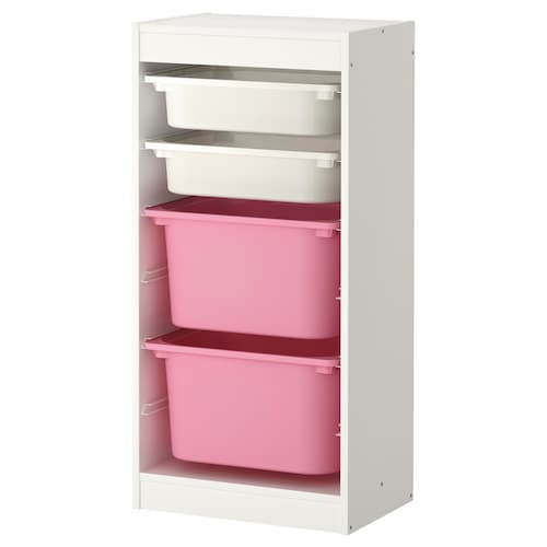"TROFAST storage combination with boxes white/pink 18 1/8 "" 11 3/4 "" 37 """