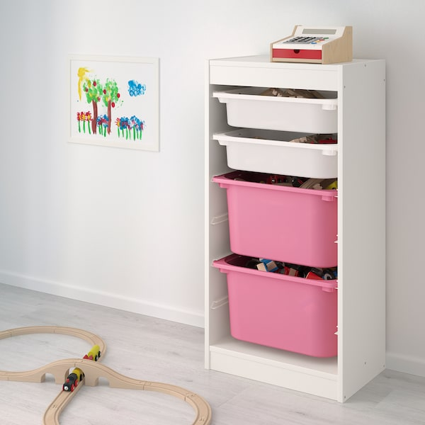 """TROFAST storage combination with boxes white/pink 18 1/8 """" 11 3/4 """" 37 """""""