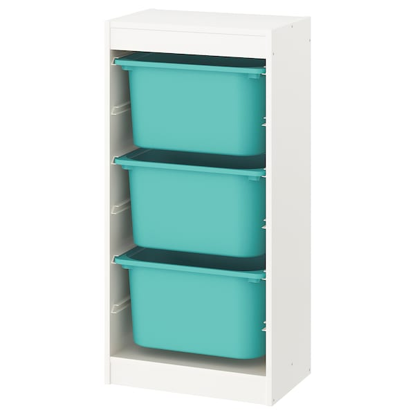"""TROFAST Storage combination with boxes, white/turquoise, 18 1/8x11 3/4x37 """""""