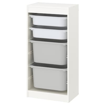 TROFAST Storage combination with boxes, white/white gray, 18 1/8x11 3/4x37 ""