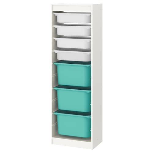 "TROFAST storage combination with boxes white/white turquoise 18 1/8 "" 11 3/4 "" 57 1/8 """