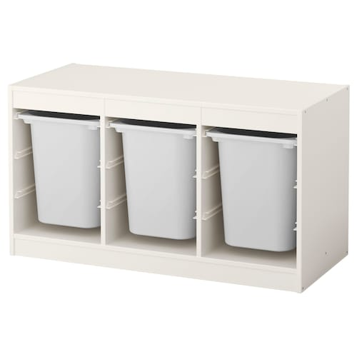 "TROFAST storage combination with boxes white/white 39 "" 17 3/8 "" 22 """