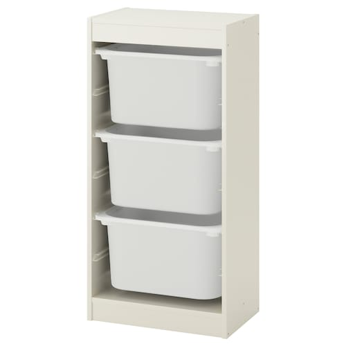 "TROFAST storage combination with boxes white/white 18 1/8 "" 11 3/4 "" 37 """