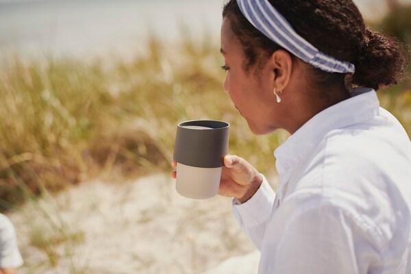 TROLIGTVIS Travel mug, beige, 10 oz