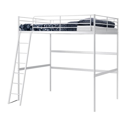 TROMSÖ Loft bed frame   The ladder can mount on the left or right side of the bed.