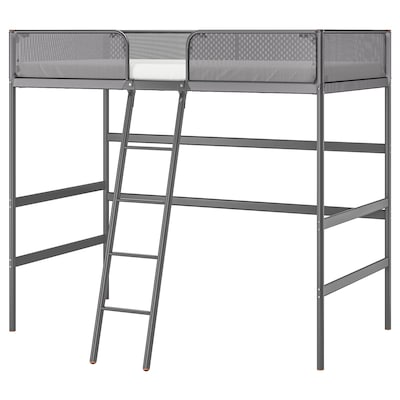 TUFFING Loft bed frame, dark gray, Twin