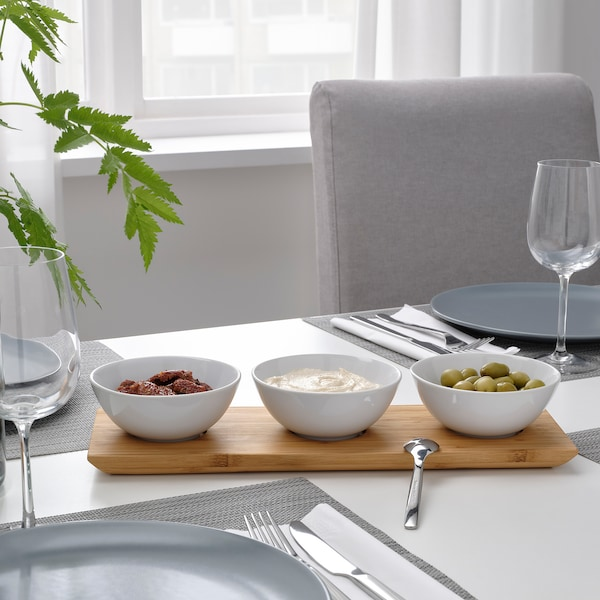 TYNGDLÖS Tray with 3 bowls, bamboo/white