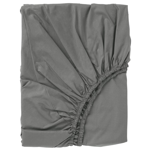 """ULLVIDE fitted sheet gray 200 square inches 74 """" 53 """" 15 """""""