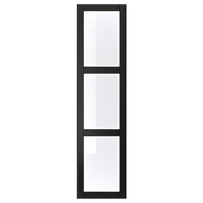 """UNDREDAL Door, black/glass, 19 1/2x76 5/8 """""""