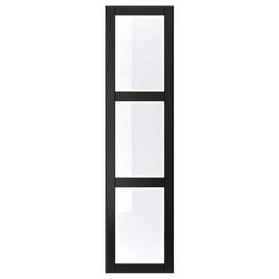 """UNDREDAL Door with hinges, black/glass, 19 1/2x76 5/8 """""""