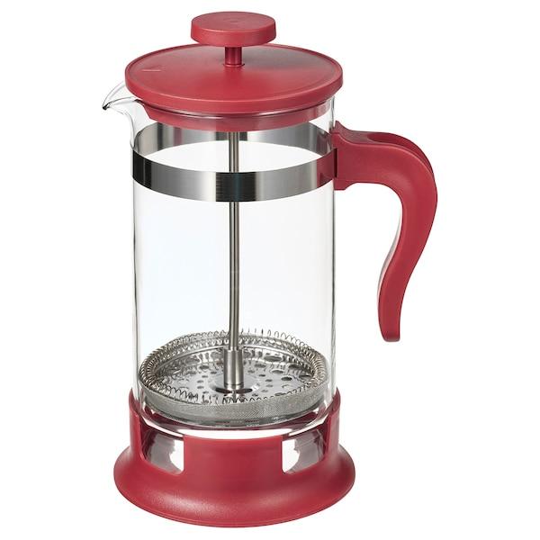 UPPHETTA French press coffee maker, glass/red, 34 oz
