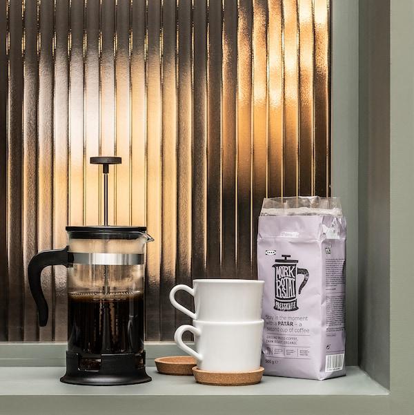 UPPHETTA French press coffee maker, glass/stainless steel, 34 oz