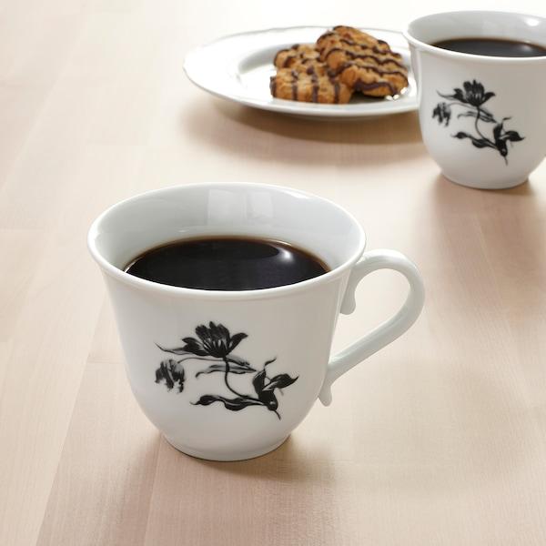 UPPLAGA Mug, white/patterned, 15 oz