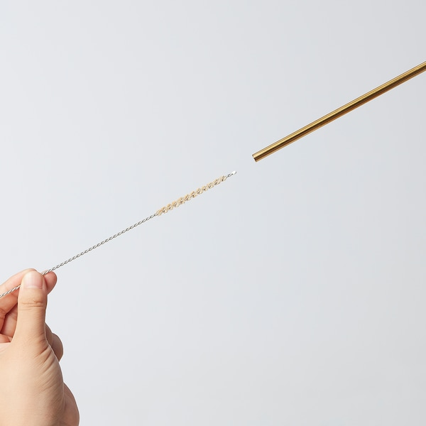 UPPSLUKAD Drinking straws/cleaning brush, stainless steel/multicolor
