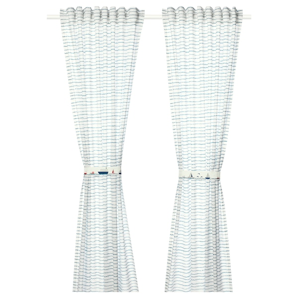 UPPTÅG Curtains with tie-backs, 1 pair, waves/boats pattern/blue, 47x98 ""