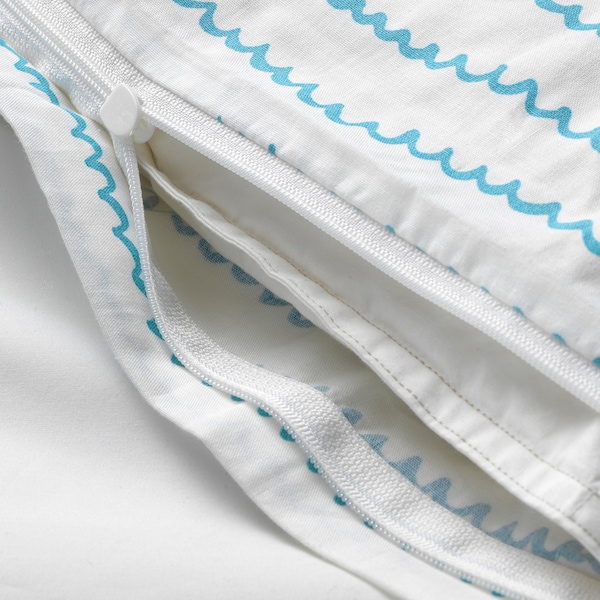 UPPTÅG Duvet cover and pillowcase(s), waves/boats pattern/blue, Twin