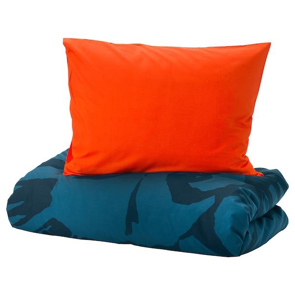 URSKOG Duvet cover and pillowcase(s), lion/dark blue, Twin