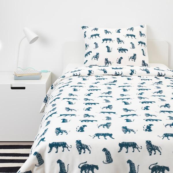 URSKOG Duvet cover and pillowcase(s), tiger/blue, Twin