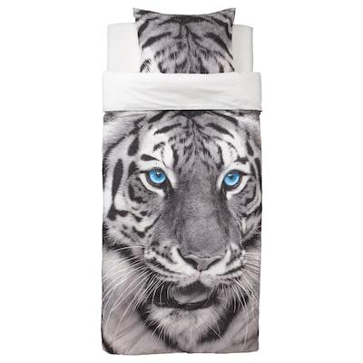 URSKOG Duvet cover and pillowcase(s), tiger/gray, Twin