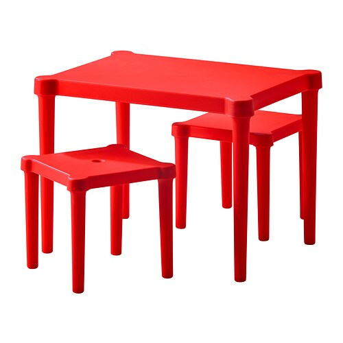 UTTER Children's table with 2 stools   Suitable for indoor and outdoor use.  Easy to assemble without tools or screws.